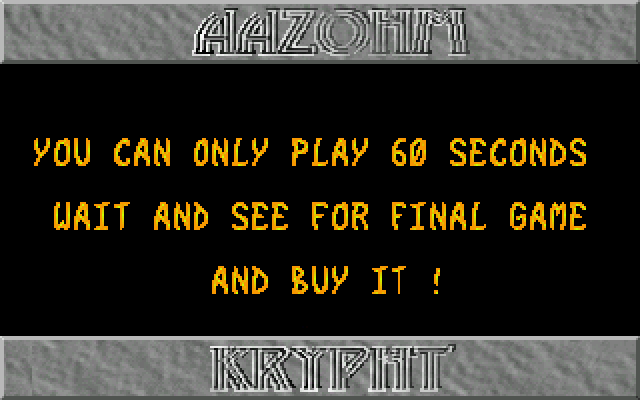 Aazohm Krypht atari screenshot